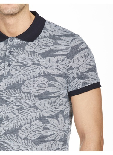 Bisse BTS20Y20306 Slim Fit Desenli Polo Yaka T-Shirt Lacivert